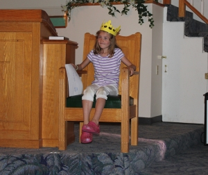 Lily playing King Xerxes in the Queen Esther story
