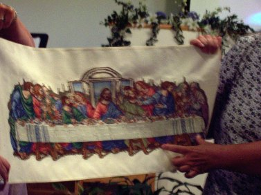 Betty Pierce showed her handiwork in this cross-stitch of the Last Supper