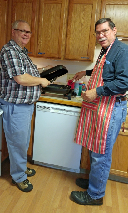 The men were in charge of the kitchen!