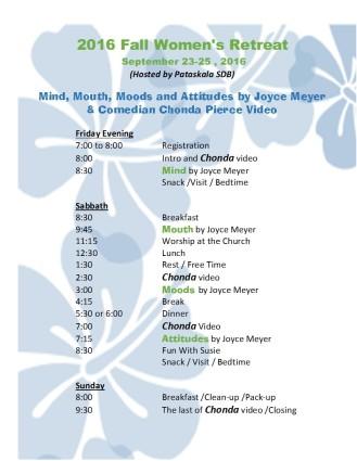 2016 retreat schedule